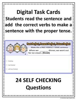 Perfect Tense Activity Google Digital Task Cards Add the Correct Verbs