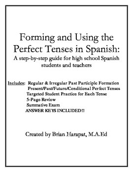 Spanish Perfect Tenses Bundle Ready to Print and Use Today!!