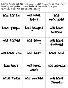 Perfect Tense Sorting Activity: Past, Present, & Future Perfect Tense Verbs