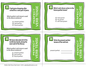Perfect Tense Verbs Task Cards