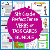 Perfect Tense Verbs and Task Cards Bundle (L.5.1b, L.5.1c, L.5.1d, L.5.2)
