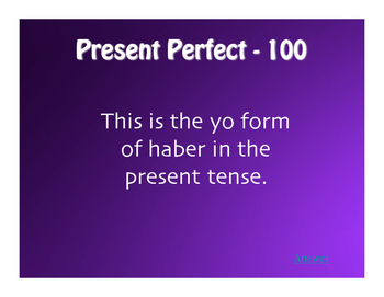 Spanish Perfect Tenses Jeopardy-Style Review Game