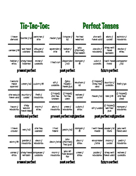 Spanish Perfect Tenses Tic Tac Toe Partner Game