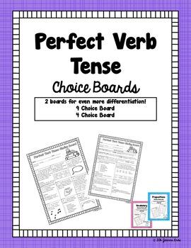 Perfect Verb Tense Choice Boards