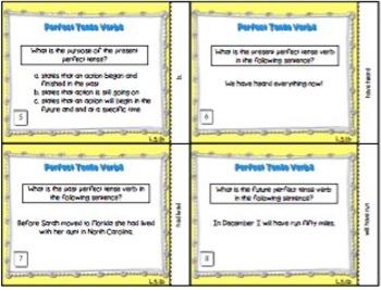 Perfect Verb Tense Task Cards L.5.1.b