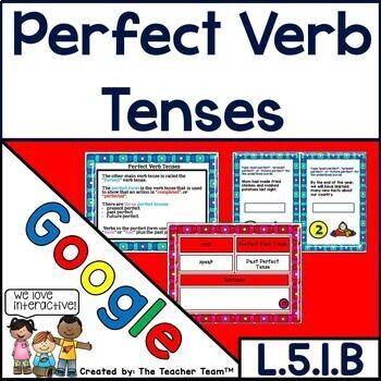 Perfect Verb Tenses Interactive Notebook Google Drive Activities L.5.1.B