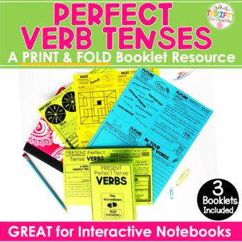 Perfect Verb Tenses - Perfect Tense Verbs No Prep Activity No Cut, Print & Fold