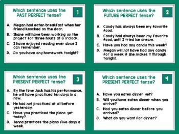 Perfect Verb Tenses: Task Cards