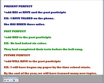 Perfect and Progressive Tenses of Verbs Smartboard File