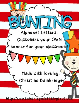 Perfect for Reading Month!  Primary Color Buntings- Customize Your Own Banner!