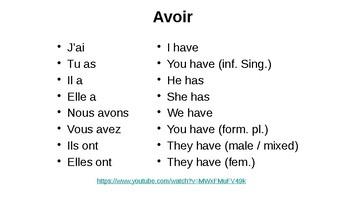"Perfect tense of irregular verbs with ""avoir"""