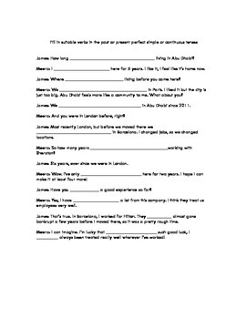 Perfect tense verbs conversation fill-in