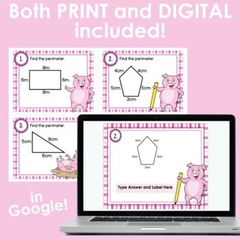Perimeter Scoot/Task Cards for 3rd Grade- Pig Themed
