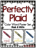 Perfectly Plaid | Black & White | Color Words Poster Set