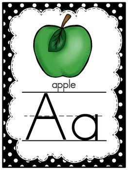 Perfectly Polka Dot -Black- Alphabet Display Poster Set