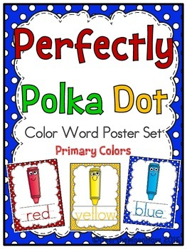 Perfectly Polka Dot -Primary- Color Words Poster Set