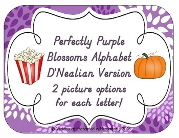 Perfectly Purple Blossoms Alphabet Cards: D'Nealian Version