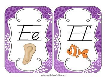 Perfectly Purple Blossoms Alphabet Cards: D'Nealian Version