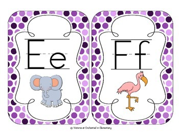 Perfectly Purple Polka Dot Alphabet Cards