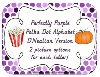 Perfectly Purple Polka Dot Alphabet Cards: D'Nealian Version