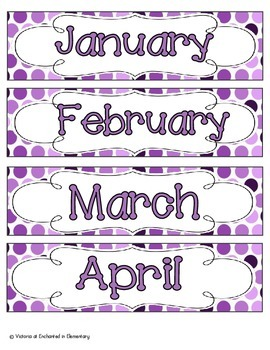 Perfectly Purple Polka Dot Calendar Numbers, Months and Days