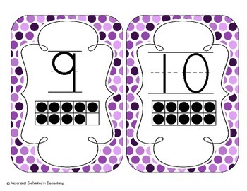 Perfectly Purple Polka Dot Number Cards 1-20