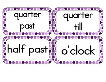 Perfectly Purple Polka Dots Clock Numbers