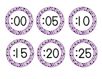 Perfectly Purple Polka Dots Clock Numbers