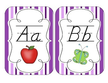 Perfectly Purple Stripes Alphabet Cards: D'Nealian Version