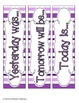 Perfectly Purple Stripes Calendar Numbers, Months and Days