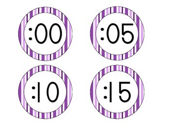 Perfectly Purple Stripes Clock Numbers