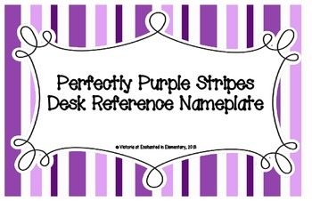Perfectly Purple Stripes Desk Reference Nameplates