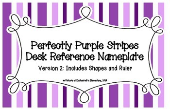 Perfectly Purple Stripes Desk Reference Nameplates Version 2