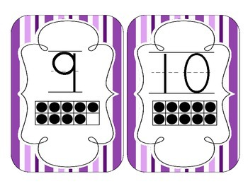 Perfectly Purple Stripes Number Cards 1-20