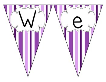 Perfectly Purple Stripes Welcome Pennant