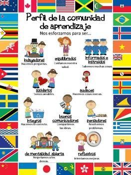 Perfil de la comunidad de aprendizaje (A3/A4 Learner Profile Poster in Spanish)
