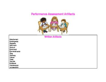 Performance Assessment Artificats