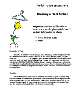 Performance Assessment :Creating a Plant Mobile