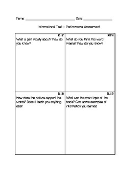 Performance Assessment: Informational Reading Unit