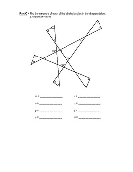Geometry Performance Assessment - Interior & Exterior Angles of A Triangle