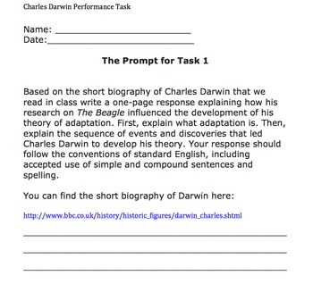 Performance-Based Task: Charles Darwin and the Theory of Evolution