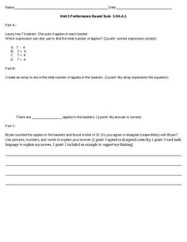 Performance Based Task for Common Core State Standard 3.OA.A.1