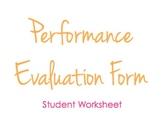 Performance Evaluation Form - Student Worksheet