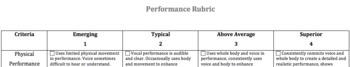 Performance Rubric