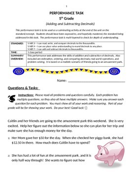 Performance Task - Addition & Subtraction of Decimals (Common Core Standards)