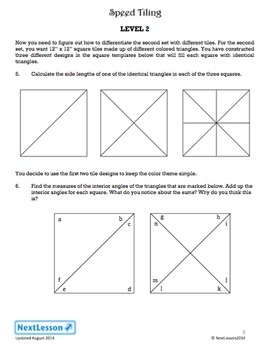 Performance Task – Angle Measures and Pythagorean Theorum – Speed Tiling