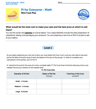 Bundle G7 Area & Circumference - 'Pi for Everyone' Performance Task