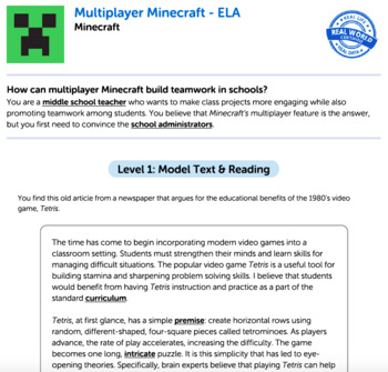 G8 Argument Reading & Writing - 'Multiplayer Minecraft' Performance Task