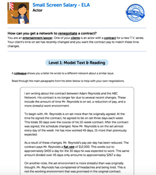Bundle G6 Argument Reading & Writing - 'Small Screen Salary' Performance Task