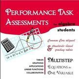 Performance Task Assessment: Multistep Equations for Algebra 1